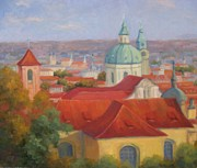 Prague Painting Framed Prints - City of a Thousand Spires Framed Print by Bunny Oliver