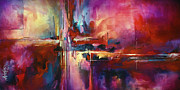 Red Buildings Prints - CITY of FIRE Print by Michael Lang