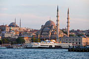 Passenger Ferry Prints - City of Istanbul at Sunset Print by Artur Bogacki