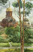Orthodox Church Painting Acrylic Prints - city of Khotkovo Acrylic Print by Khromykh Natalia