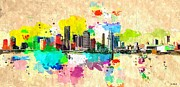 City Photography Paintings - City of Miami Grunge by Daniel Janda