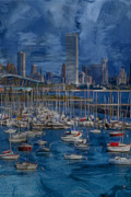 Metropolis Prints - City of Milwaukee Along Lake Michigan Print by Jack Zulli
