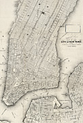 New York City Map Prints - City of New York circ 1860 Print by Unknown