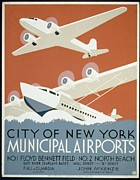 United States Travel Bureau Prints - City of New York Municipal Airports Print by Christopher DeNoon