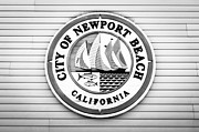 Round Framed Prints - City of Newport Beach Sign Black and White Picture Framed Print by Paul Velgos