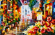 City Street Paintings - City of Roses by Leonid Afremov