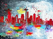 Seattle Skyline Paintings - City of Seattle Grunge by Daniel Janda