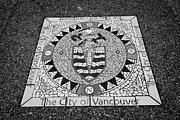 North Vancouver Posters - city of vancouver crest mosaic in the street in gastown Vancouver BC Canada Poster by Joe Fox