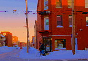 Verdun Restaurants Prints - City Of Verdun Winter Sunset Pierrette Patates Art Of Montreal Street Scenes Carole Spandau Print by Carole Spandau
