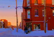 City Of Verdun Winter Sunset Pierrette Patates Art Of Montreal Street Scenes Carole Spandau Print by Carole Spandau