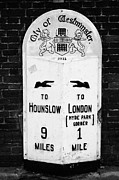 Milestone Prints - city of westminster old metal milestone between london and hounslow London England UK Print by Joe Fox
