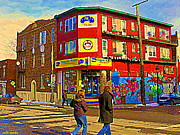 Montreal Landmarks Paintings - City Paint Benjamin Moore Rue Rachel And Hotel And De Ville Montreals Oldest Paint Store  C Spandau  by Carole Spandau