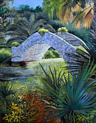 Bayous Painting Originals - City Park Stone Bridge by Ben  Bensen III