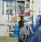 Collage Mixed Media Prints - City poetry Print by Elena Nosyreva