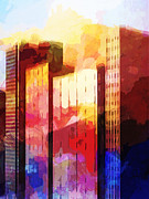 City Buildings Mixed Media Prints - City Pop Print by Lutz Baar