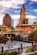 Urban Buildings Posters - City - Providence RI - The Skyline Poster by Mike Savad