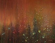 Drops Paintings - City Rain Against the Window by Tom Shropshire
