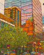 Printmaking Mixed Media Framed Prints - City Reflections II Framed Print by Judith Rothenstein-Putzer