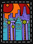 Sears Paintings - City Scape Plus El by Anne Leuck Feldhaus