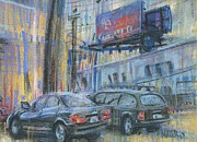 Car Pastels Prints - City Signs Print by Donald Maier