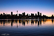 Sydney Photographs Prints - City Silhouette - Pink Sunrise. Print by Geoff Childs