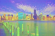 Skylines Pastels Prints - City Skyline Print by Dan Hilsenrath
