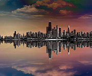 Photo Effects Prints - City Skyline Dusk Print by Bedros Awak