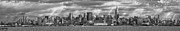 Vintage River Scenes Posters - City - Skyline - Hoboken NJ - The ever changing skyline - BW Poster by Mike Savad