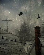 Telephone Wires Framed Prints - City Snow Framed Print by Gothicolors And Crows