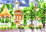 Greens Framed Prints - City Square in Watercolor Framed Print by Kip DeVore