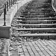 Downtown Stairs Metal Prints - City Steps 1 Squared Metal Print by Angelina Vick