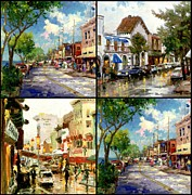 Rainy Street Painting Framed Prints - City Street Collection Framed Print by Thomas Kinkade