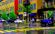 Crosswalk Paintings - City Street Relections In The Rain Quebec Art Colors And Seasons Montreal Scenes Carole Spandau by Carole Spandau