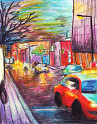 Taxi Cab Pastels Prints - City Streets Print by Ashley King