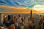 Sun Sky Clouds Posters - City Sunset New York City USA Poster by Sabine Jacobs