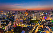 Mango Acrylic Prints - City Sunset Skyline Bangkok Acrylic Print by Fototrav Print