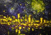 Michael Kulick Paintings - City Under Night Sky by Michael Kulick