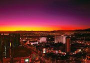 Moon Framed Prints - City - Vegas - NY - Sunrise over the city Framed Print by Mike Savad