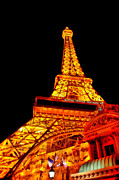 Tall Prints - City - Vegas - Paris - Eiffel Tower Restaurant Print by Mike Savad