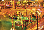 Arched Bridge Posters - City - Vegas - Venetian - The Venetian at night Poster by Mike Savad