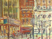 Bryant Park Painting Framed Prints - Cityscape 1 Framed Print by Edward Ching