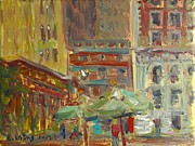 Bryant Park Painting Framed Prints - Cityscape 2 Framed Print by Edward Ching