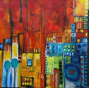 Aisha Khan - Cityscape in red