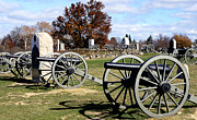 Battlefield Site Prints - Civil War Cannons at Gettysburg National Battlefield Print by Brendan Reals