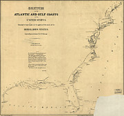 Vintage Map Paintings - Civil War Map of US Coasts 1862 by MotionAge Art and Design - Ahmet Asar