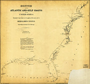 Old Map Paintings - Civil War Map of US by MotionAge Art and Design - Ahmet Asar