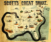 Old Map Paintings - Civil War Map Scotts Great Snake 1861 by MotionAge Art and Design - Ahmet Asar