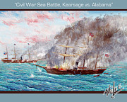 Confederacy Digital Art Prints - Civil War Sea Battle Kearsage vs Alabama Print by Philip Lee