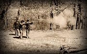 Firing Range Prints - Civil War Soldiers Firing Muskets Print by Paul Ward