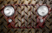 Headlamp Framed Prints - Civilian Jeep- Maroon Framed Print by Luke Moore